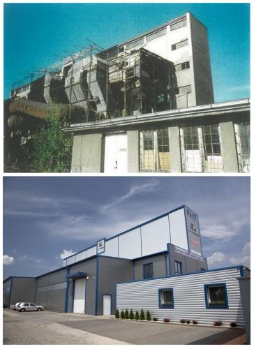 Porovnanie stavu bývalej teplárne v Prievidzi - rok 1998 a súčasnosť.